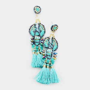 Boho Multi Beaded Triple Tassel Dangle Earrings